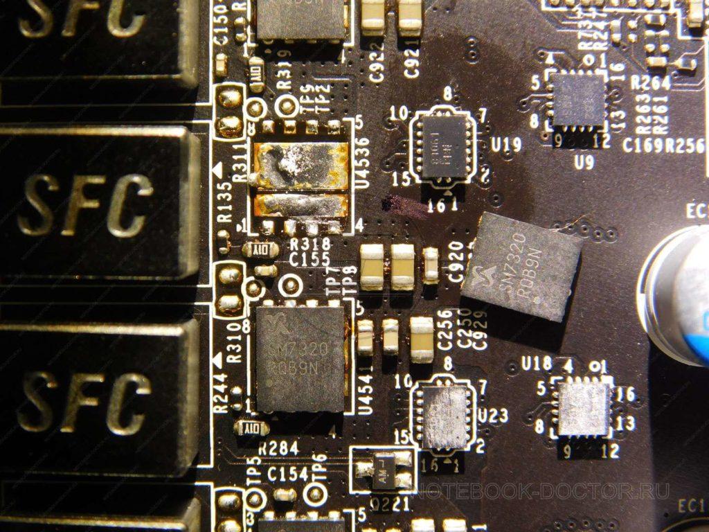 MSI GTX980 GAMING 4G ремонт системы питания, выпаян сгоревший мосфет